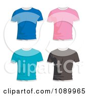 Clipart Blue Pink Turquoise And Black Mens T Shirts Royalty Free Vector Illustration by michaeltravers
