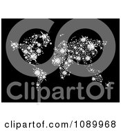 Clipart Sparkly Diamond World Atlas On Black Royalty Free Vector Illustration