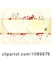 Clipart Grungy Tan Paper Background With Red Splatters And Horizontal Copyspace Royalty Free Vector Illustration by michaeltravers
