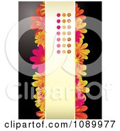 Clipart Red Pink And Orange Daisy Background With Vertical Copyspace Royalty Free Vector Illustration