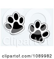 Clipart Black And White Pet Paw Prints Royalty Free Vector Illustration