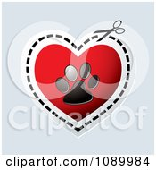 Scissors Cutting Out A Paw Print Valentine Heart