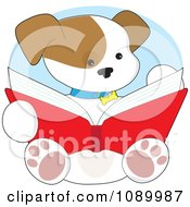 Clipart Cute Puppy Reading Through A Book Royalty Free Vector Illustration