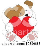 Clipart Cute Puppy Holding A Red Valentine Heart Royalty Free Vector Illustration