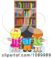 Clipart School Children Selecting Library Books From A Shelf Royalty Free Vector Illustration