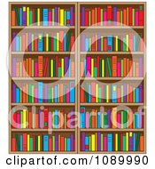 Clipart Library Book Shelves Filled With Books Royalty Free Vector Illustration