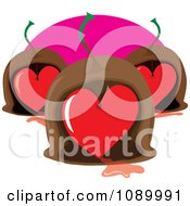 Clipart Maraschino Cherry Heart Valentine Chocolates Royalty Free Vector Illustration by Maria Bell