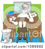 Clipart Rear View Of An Author Working At A Desk With Crumpled Pages Royalty Free Vector Illustration