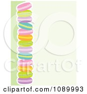 Border Of Colorful Macaroon Cookies And Green Stripes With Beige Copyspace