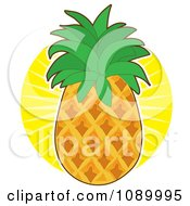 Clipart Fresh Whole Pineapple Against A Sun Burst Royalty Free Vector Illustration