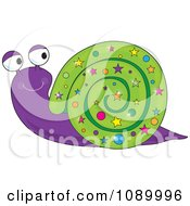 Clipart Happy Purple Snail With Stars On Its Green Shell Royalty Free Vector Illustration