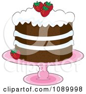 Strawberry Shortcake With Whipped Cream Icing And Garnished With Fresh Strawberries