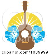 Hawaiian Ukulele With Blue Hibiscus Flowers And Sunshine