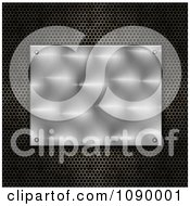 Clipart 3d Shiny Metal Plate Over Perforated Mesh Royalty Free Illustration