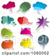 Solid Colored Chat Balloon Bubbles With Shadows