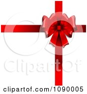Clipart 3d Red Valentines Day Gift Bow And Ribbons On White Royalty Free Vector Illustration