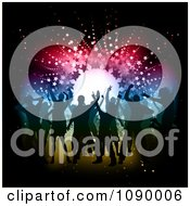 Clipart Silhouetted People Dancing On A Dance Floor Over Colorful Lights And Stars Royalty Free Vector Illustration