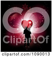 Clipart Silhouetted Valentines Day Couple With A Heart Lights And Vines On Red Royalty Free Vector Illustration
