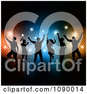 Clipart Silhouetted Dance Team Over Colorful Lights And Sparkles Royalty Free Vector Illustration by KJ Pargeter