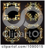 Clipart 3d Ornate Gold And Black Vintage Frames Royalty Free Vector Illustration by KJ Pargeter