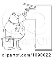 Clipart Outlined Businessman Reaching For Files In A Tall Cabinet Royalty Free Vector Illustration