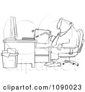 Outlined Businessman Pulling A Top Secret File From A Desk Cabinet