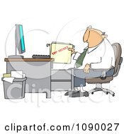 Clipart Businessman Pulling A Top Secret Folder From A Desk Cabinet Royalty Free Vector Illustration by djart