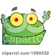 Clipart Green Peace Frog Looking Around A Corner Royalty Free Vector Illustration