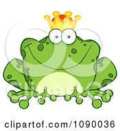 Clipart Fairy Tale Frog Prince Wearing A Crown Royalty Free Vector Illustration by Hit Toon