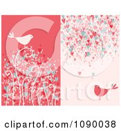 Red And Pink Bird And Heart Backgrounds