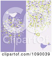 Purple Bird And Heart Backgrounds