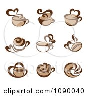 Clipart Coffee Cup And Heart Steam Icons Royalty Free Vector Illustration by elena #COLLC1090040-0147