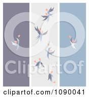 Clipart Purple Gray And Blue Love Angel Banners Royalty Free Vector Illustration