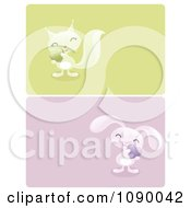 Clipart Green And Blue Squirrel And Rabbit Valentine Borders Royalty Free Vector Illustration