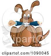 Clipart Dog Holding A Mail Mans Arm Royalty Free Vector Illustration