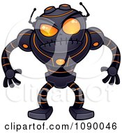 Clipart Angry Black Robot With Orange Eyes Royalty Free Vector Illustration by John Schwegel