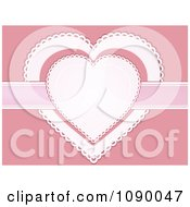 Clipart White And Pink Doily Hearts With A Ribbon Royalty Free Vector Illustration by elaineitalia