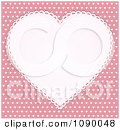 Clipart White Doily Heart Over Pink With White Hearts Royalty Free Vector Illustration