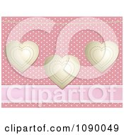 Clipart 3d Gold Valentine Hearts Over Pink Polka Dots And A Ribbon Royalty Free Vector Illustration