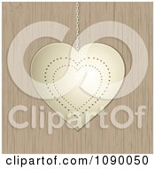 Clipart 3d Gold Valentine Heart Suspended Over Wood Royalty Free Vector Illustration