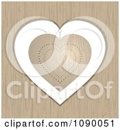 Clipart 3d Gold Heart Hanging In A Wood Frame Royalty Free Vector Illustration