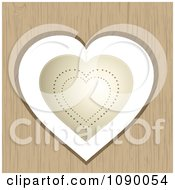 Clipart 3d Gold Valentine Heart Hanging In A Wood Cutout Royalty Free Vector Illustration