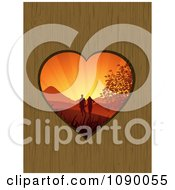 Clipart Sunset Couple Outdoors Through A Heart Hole In Wood Royalty Free Vector Illustration