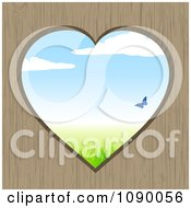 Clipart Heart Through Wood With A Blue Butterfly And Spring Time Landscape Royalty Free Vector Illustration