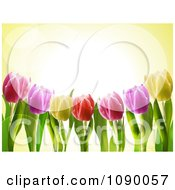 Clipart 3d Spring Tulip Flowers And Flares Over Yellow Royalty Free Vector Illustration by elaineitalia