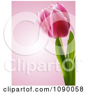 Clipart 3d Spring Tulip Flower Over Pink Royalty Free Vector Illustration by elaineitalia