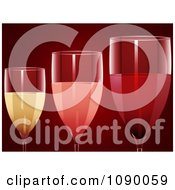 3d Red Rose And White Wine In Glasses Over Red
