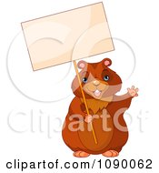 Clipart Waving Groundhog Holding Up A Sign Royalty Free Vector Illustration