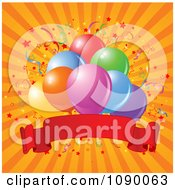 Confetti And Party Balloons With A Red Banner Over Orange Rays