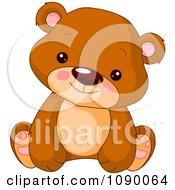 Clipart Cute Bear Cub Sitting Upright Royalty Free Vector Illustration by Pushkin